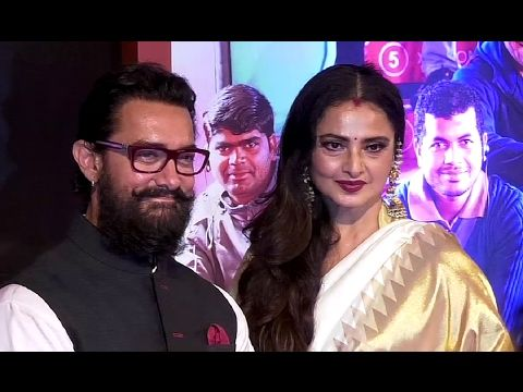 Rekha With Aamir Khan At Grand Success Party Of DANGAL Movie.