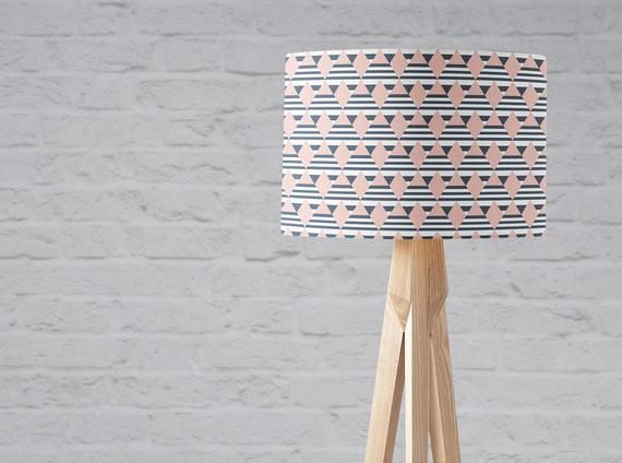 Pink And Navy Decor Pink Lamp Shade Geometric Lampshade Navy Pink Nursery Navy Blue Lamp Blue Light Shade Diamonds Girls Nursery Lamp Pink Lamp Shade Blue Lamp Geometric Lampshade