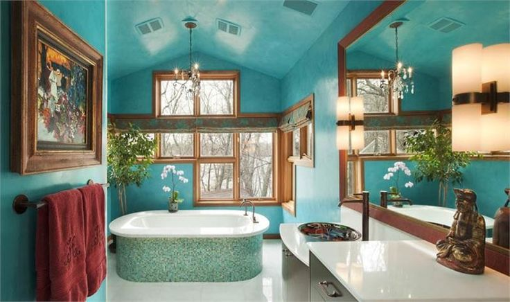 Interior Design Trends - contemplate this dramatic and transitional bathroom design by Susan Brown that features a stunning bathtub and a wonderful Turquoise background #interiordesigntrends #interiordesign #wintertrends #bathroomideas #luxurybathrooms #exclusivedesigns #susanbrown
