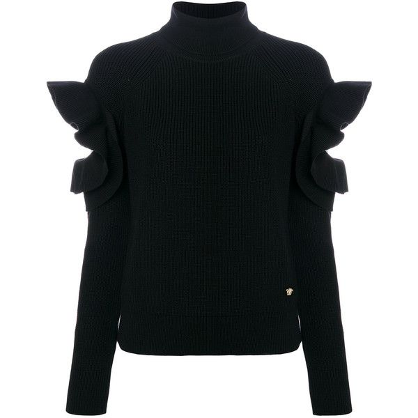 Versace ruffle trim jumper ($995) ❤ liked on Polyvore featuring tops, sweaters, black, flutter sleeve top, cutout tops, frill sleeve top, woolen sweater and ruffled sweaters