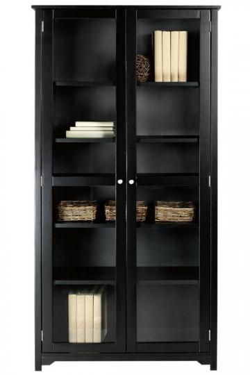 """This might be perfect- we can obscure the glass fronts Oxford 72""""H Bookcase with Glass Doors"""