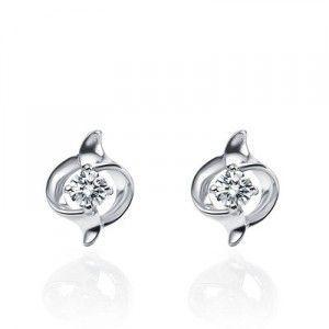 Flawless Beauty Diamond Earrings on 10K White Gold