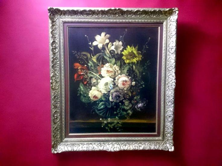 Obraz olejny barokowe kwiaty Ernst Mallner Oryginał