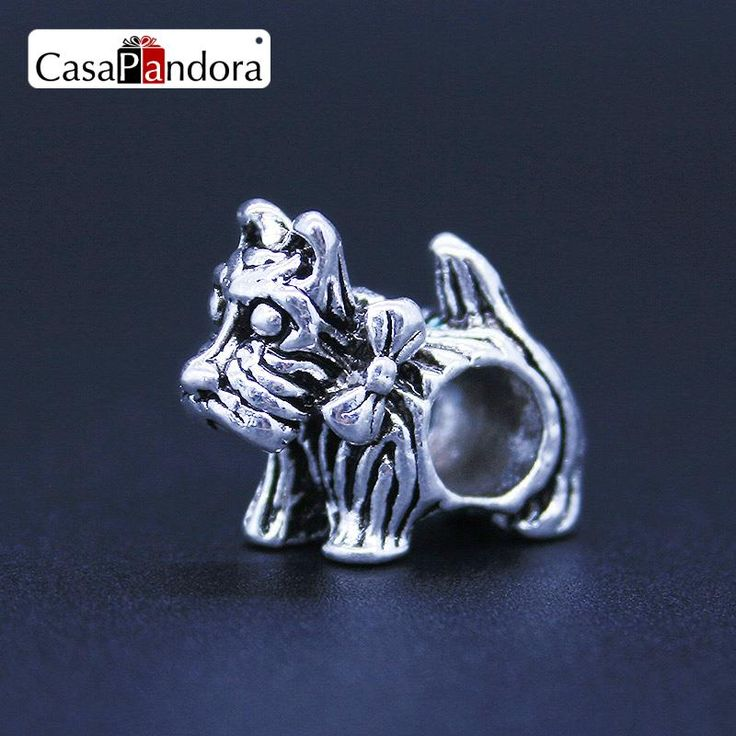 CasaPandora Fashion European 925 Plated Dog Puppy Schnauzer Fit Bracelet Charm DIY Jewelry Making