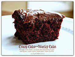 Crazy/Wacky Cakes {No eggs, milk, butter}  Five Flavors!  Mug Cakes too!  #1 recipe