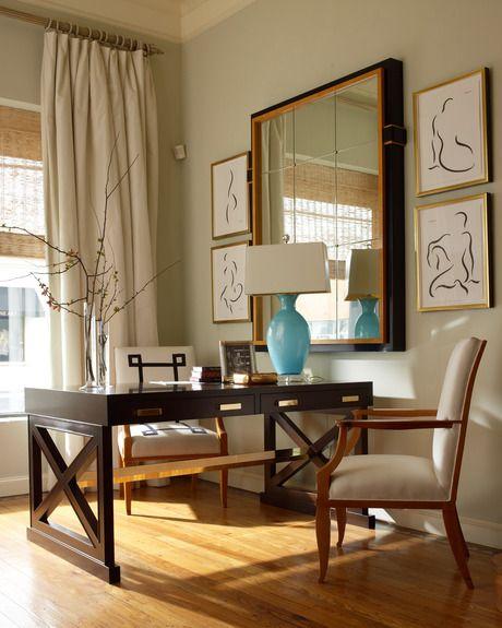 Love the appliqué detail on the desk chair,  Jan Showers