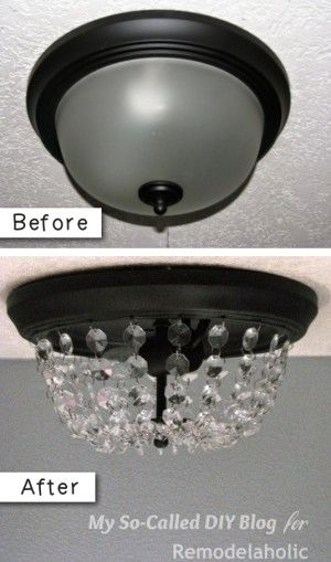 #9. Turn a dome ceiling light into a crystal flushmount (Pottery Barn inspired). -- 27 Easy Remodeling Projects That Will Completely Transform Your Home