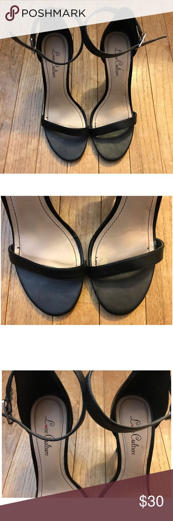 Love Culture Black Strap Heels A pair of gently used love culture basic Black strapped heels. Has so smudge marks but in very good condition. Really only wore them a few times.  🚫No Trades🚫🚫Please No Lowballing🚫  I do not negotiate pricing in the comments. Please submit a reasonable offer by the offer button. Thank you 😊 Love Culture Shoes Heels