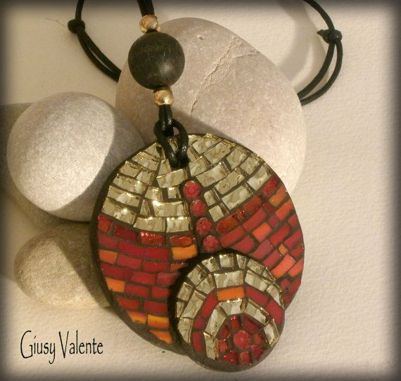 Mosaic to wear  Fire Pendant by GiusyValente on Etsy