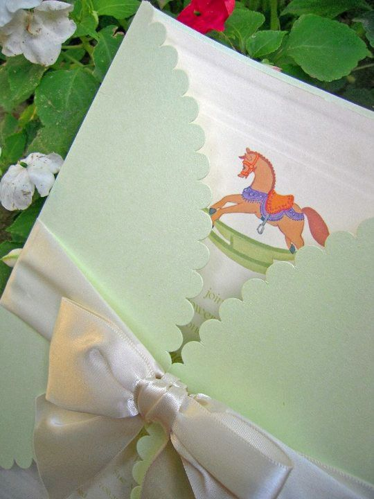 """Custom Hand Painted Baby Shower Invitations - Vintage """"Rocking Horse""""; metallic Celedon  Wrap and Satin Ribbon tying it together   www.JHeyeDesigns.com"""