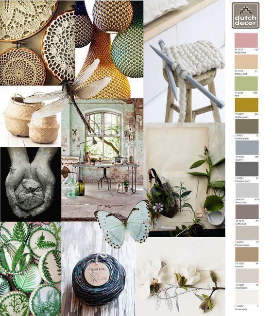 Natuurlijke producten, aarde werk en warme zachte kleuren. Planten en botanische tekeningen passen precies bij deze sfeer.