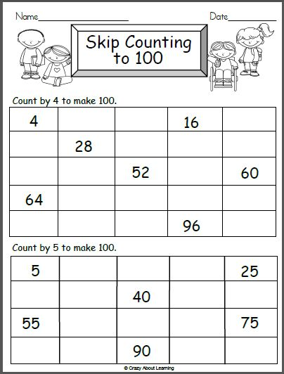 Free worksheet for counting to 100 by 4s and by 5s. Fun math activity for 1st and 2nd grade. Terrific activity for the 100th day of school. Just print and go!