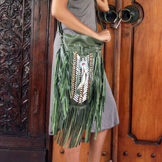 Green leather bag fringe bag boho bag gypsy bag by etnikabali