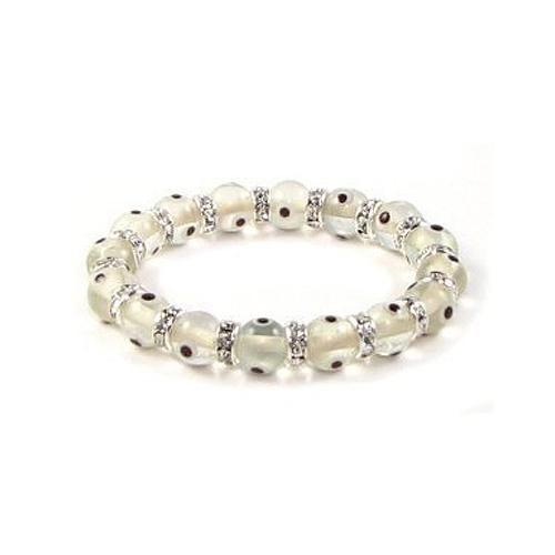 Glass Eye Beads Translucent Clear White Swarovski Evil Eye Stretch Bracelet 10mm