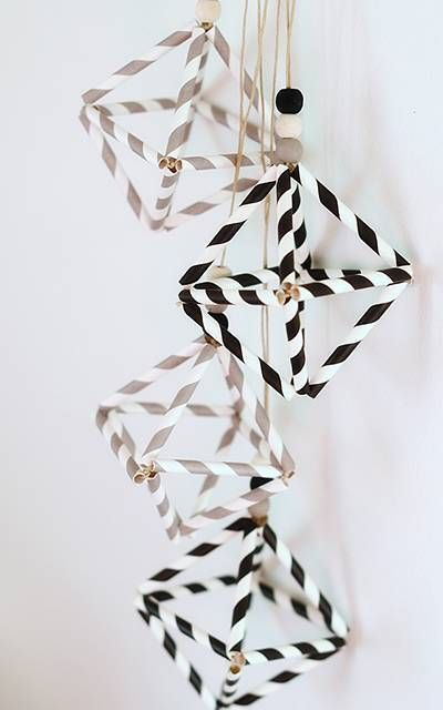 Paper Straws Turned Himmeli Ornaments