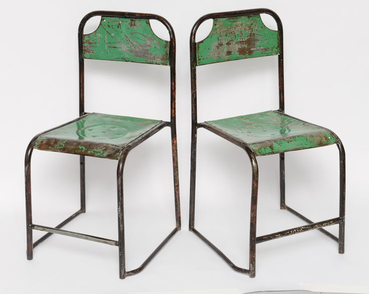 Pr/vintage metal chairs from Java   From a unique collection of antique and modern chairs at http://www.1stdibs.com/furniture/seating/chairs/