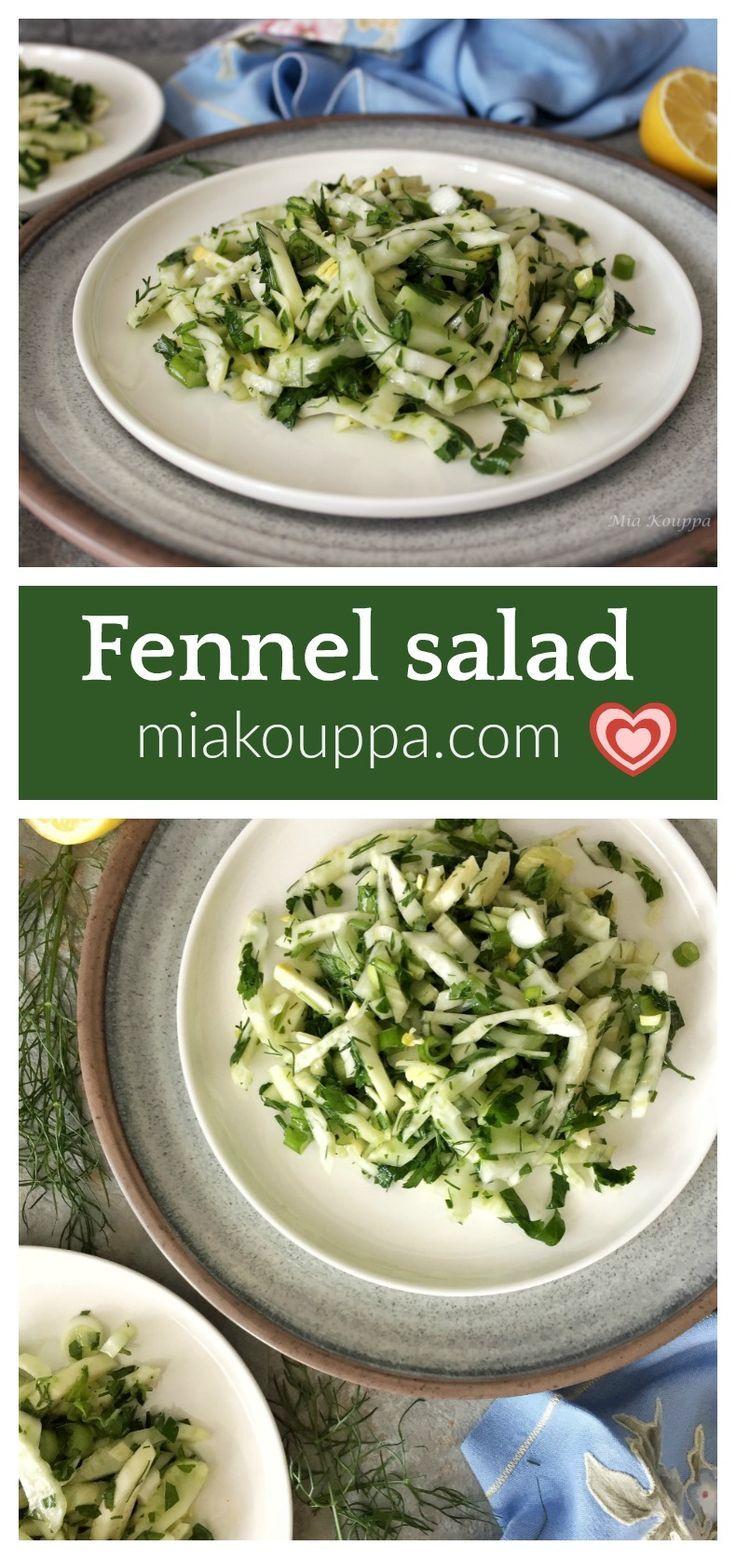 Fennel Salad Salata Me Mara8o Recipe Cooking Recipes Healthy Greek Recipes Fennel Salad