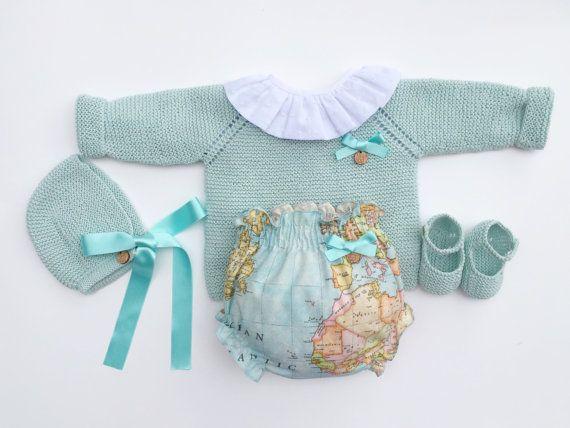 Baby Clothing Set: Sweater Shirt Bloomers Bonnet by MarigurumiShop