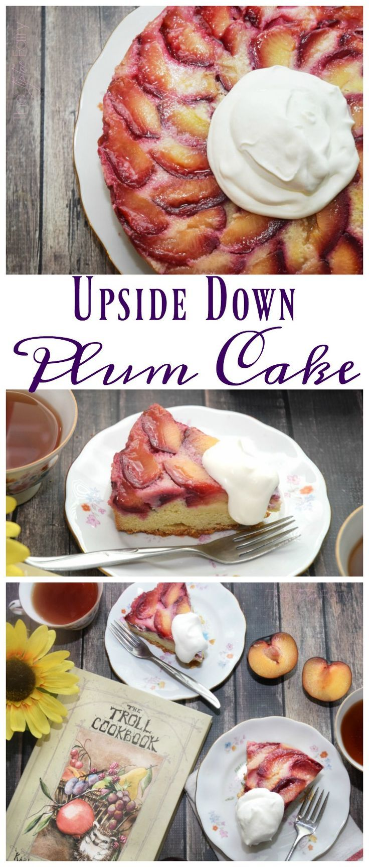 What can you with all that summer stone fruit like plums, peaches, or apricots?  Try this absolutely amazing Upside Down Plum Cake inspired by The Troll Cookbook! Come see my review for this wonderful book! #ad