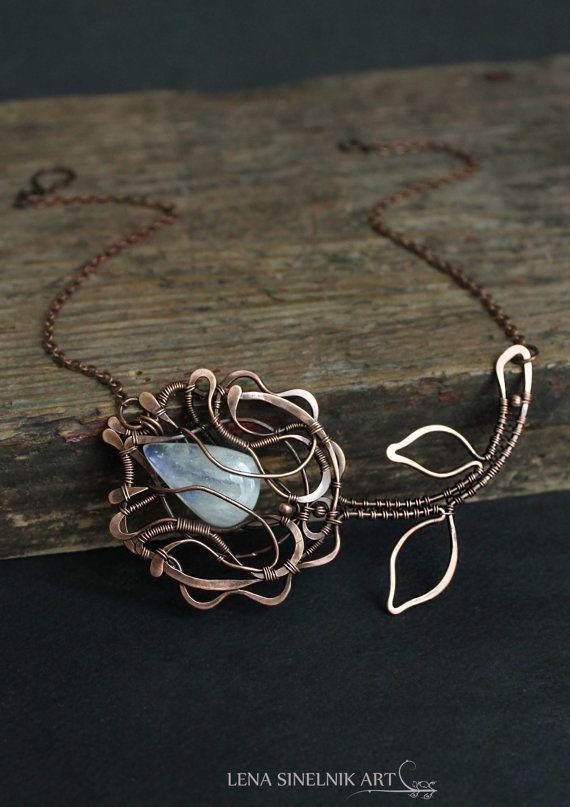 Wire wrap necklaceWire wrapped jewelry handmade by LenaSinelnikArt