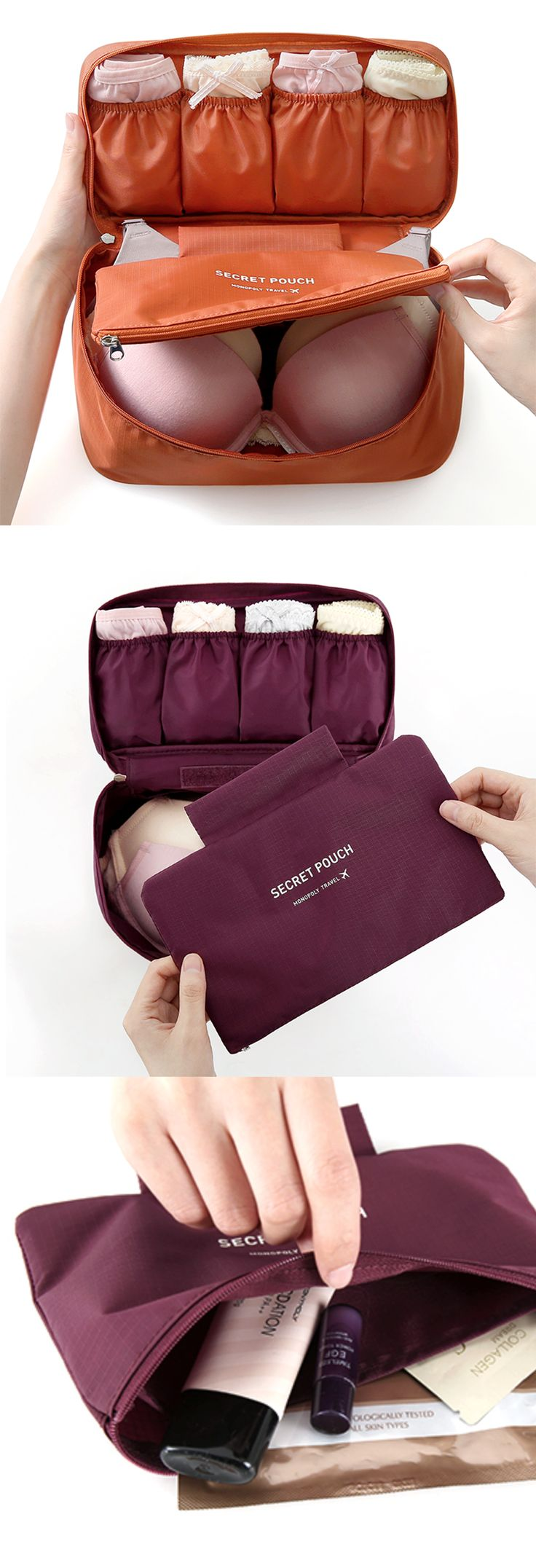 This pouch is designed to store 3-6 bras and 4-6 undies within the compartments. This is also super handy for traveling as I can pack all my essentials in the pouch and just toss it into the luggage.