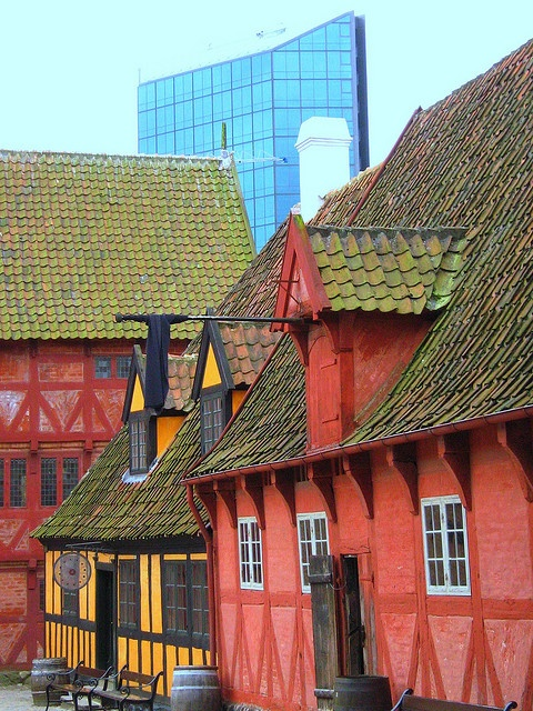 Aarhus, Den Gamle By (open air museum) Co-existing with New Aarhus!