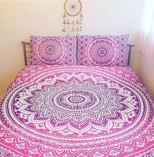 Bohemian Indian Mandala Bedding Quilt Duvet Cover Set Twin Queen Pillow Case Handmade Traditional Pink Duvet Cover Mandala Duvet Cover Bedding Sets