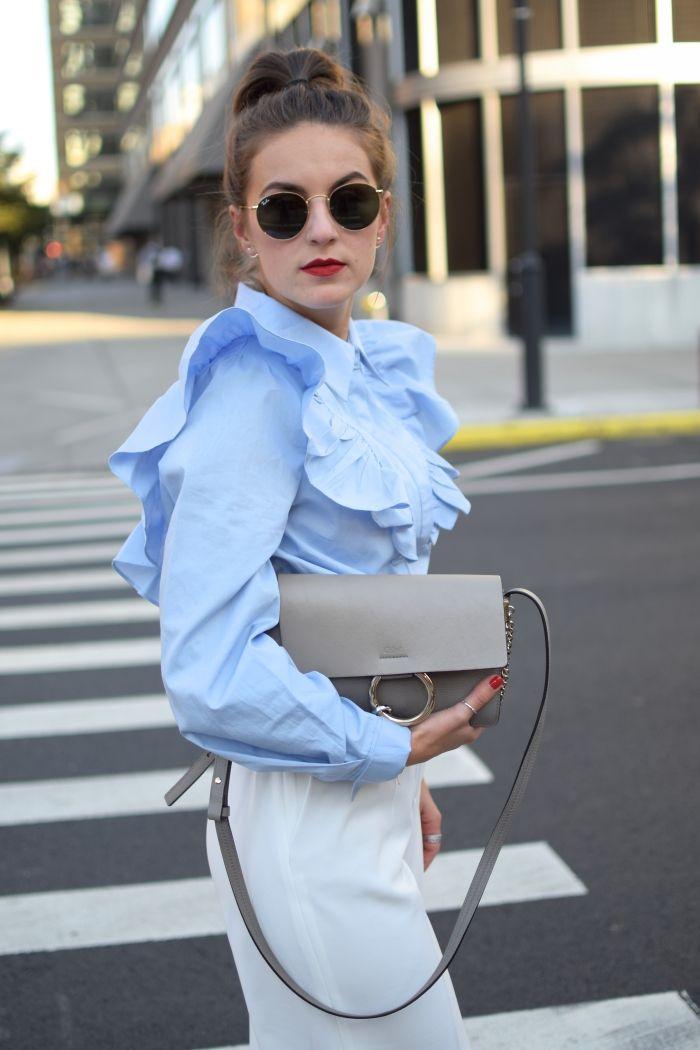 Während wir in NY waren hatte ich irgendwie ein kleines Faible für rüschen Blusen. Daher ist auch genau so eine Bluse das key-piece meines Looks gewesen.