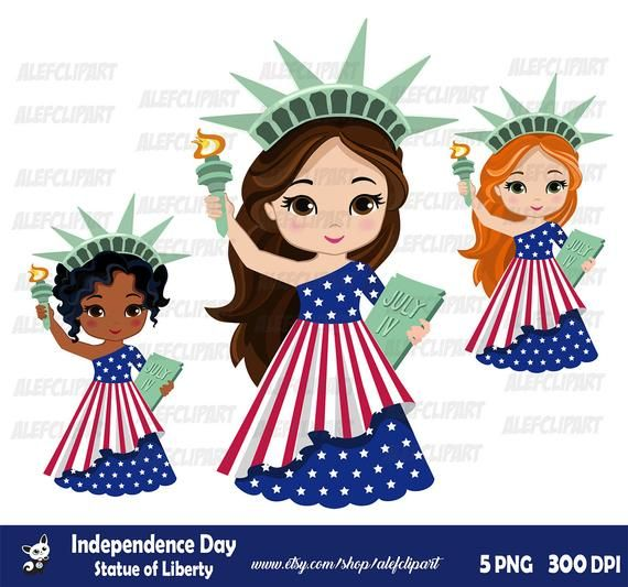 Independence Day Clipart Cute Statue Of Liberty Patriotic Etsy 4th Of July Clipart Independence Day Clipart Cute
