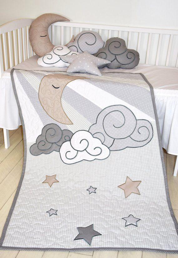Wolke Junge Quilt Pastell Mond Baby Decke Grau Weiss Beige