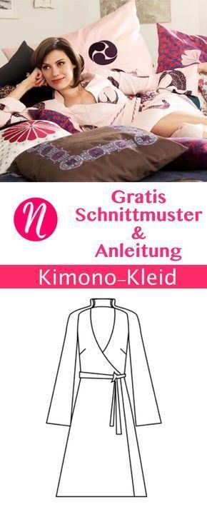 Kimono - Japanisches Wickel-Kleid zum selber nähen. Gratis PDF-Schnittmuster zum Drucken in Gr. 34 - 46, mit Nähanleitung ✂ Jetzt Nähtalente.de besuchen ✂ Free Sewing Pattern for a womon kimono dress in size 34 - 34.