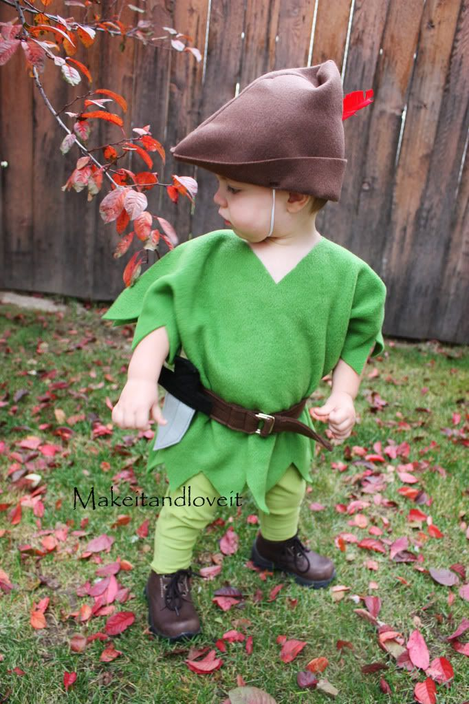 Adorable hand-made Halloween costume from http://www.makeit-loveit.com/2009/10/peter-pan-costume.html  Made this for my one-year old last year and it turned out great.  I used an old green t-shirt to make the top and put it over a long-sleeved onesie.  Still can't believe how easy it is to make a pair of toddler pants out of an old t-shirt.  I'll be making more of those for every day.
