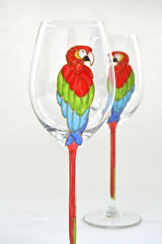 Toasted Glass - Parrot Wine Glasses