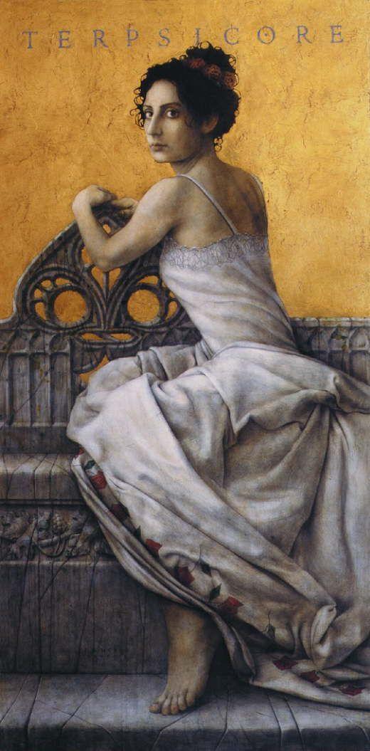 José Luis Muñoz - Terpsicore  mitología griega, Terpsícore o Terpsícores (en griego Τερψιχόρη, 'la que deleita en la danza') es la musa de la danza, de la poesía ligera propia para acompañar en el baile a los coros de danzantes, y también se la considera como la musa del canto coral. Es representada como una joven esbelta, con un aire jovial y de actitud ligera. Guirnaldas de flores forman su corona y entre sus manos hace sonar una lira. Es hija de Zeus y de Mnemósine, como todas las musas.