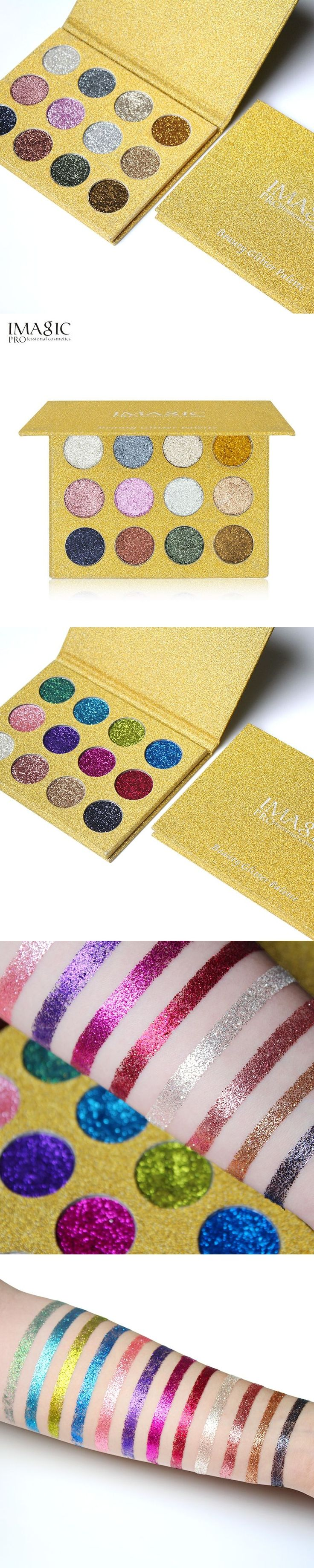 IMAGIC Pressed Glitters Eyeshadow Palette 12 Colors Bright Rainbow Gltters Eye Shadow Fill In Magetic  Make Up Cosmetic #MakeupWakeup