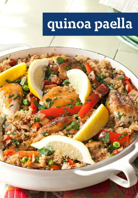 Quinoa Paella — Anything rice can do, quinoa can do, too, with its distinctive nutty deliciousness. Try it in this paella with smoky ham and tender pieces of chicken.