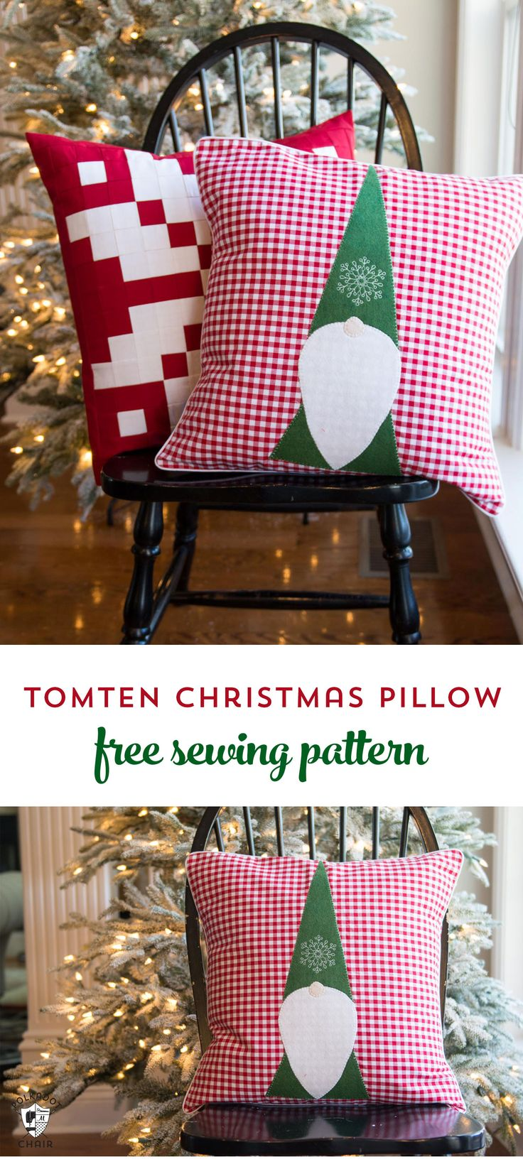 Free Sewing Pattern for a Tomten Christmas Gnome pillow - makes a cute DIY Christmas decoration!! #christmas #christmassewing #sewing #freesewingpattern #christmaspillow #DIY #freepattern #gnomepillow #gnomepattern