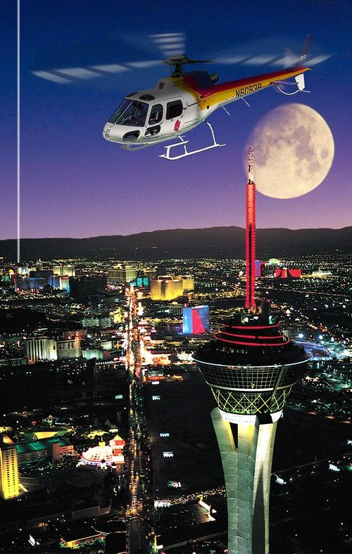 Ride in a helicopter over Las Vegas, around the Statue of Liberty, and over the Grand Canyon
