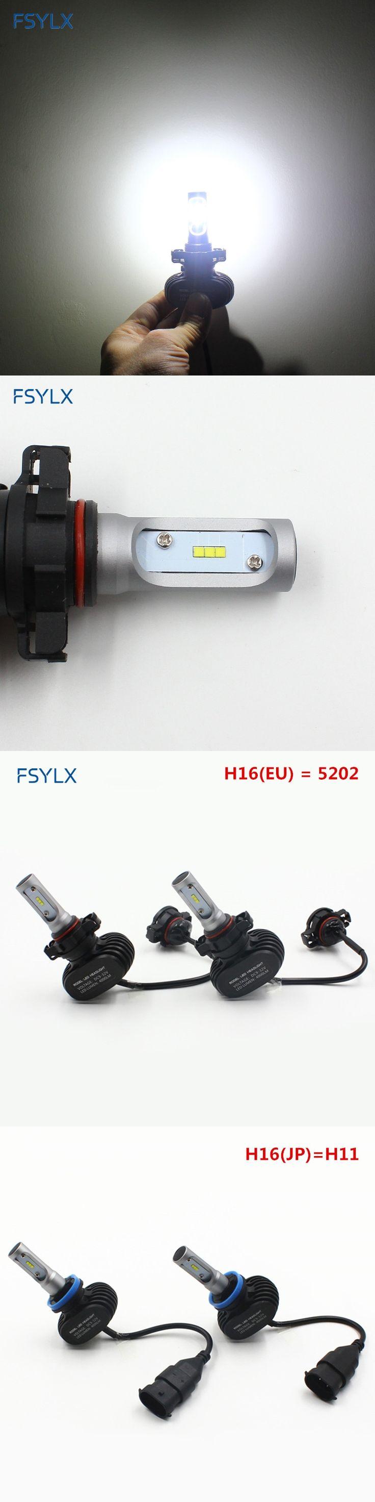 FSYLX H16 (EU) 5202 H16 (JP) H11 LED Car headlight Bulb headlamp LED DRL Fog lamps Daytime Running Lights H16 Car LED headlight