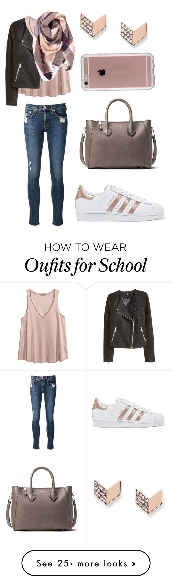 """Long school day"" by sarahfohlen on Polyvore featuring FOSSIL, adidas Originals, rag & bone/JEAN, Michael Kors, H&M, Everest, Speck, Winter and 2k17"
