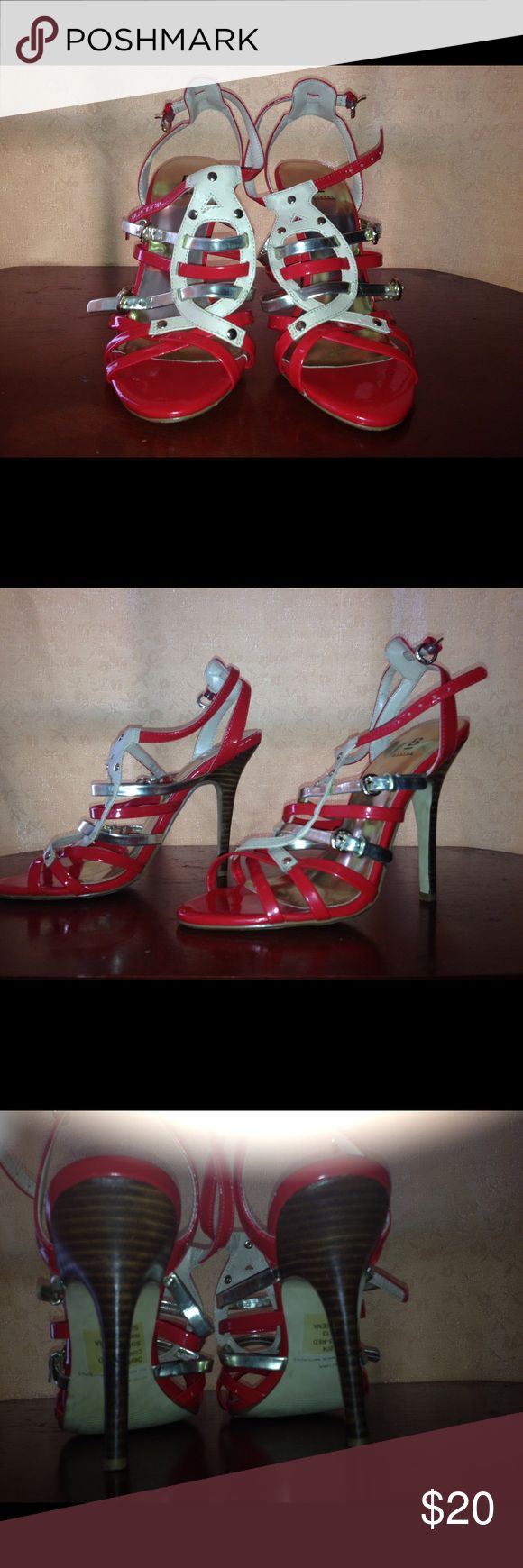 BAKERS Heels Red and cream strappy heels, very good condition! Bakers Shoes Heels