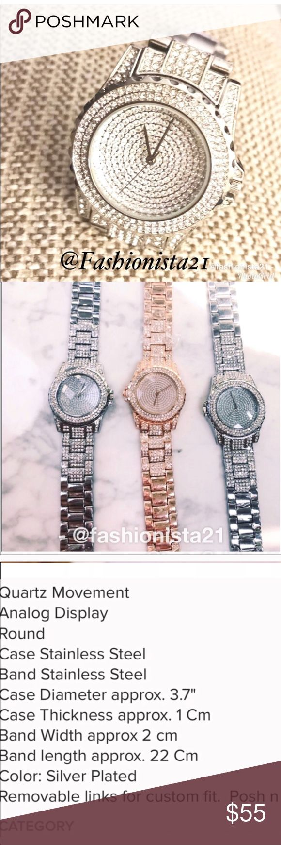 Crystal SILVER Bling Watch A real Statement piece. Quality watch. I have this watch and get constantly complimented. Comes with a box. New without tag. Makes a great gift or a gift for yourself.  Removable links for custom fit. GOLD for sale in separate listing. Fashionista21 Accessories Watches