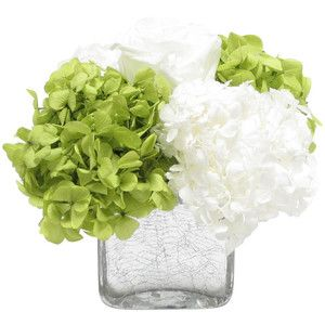 Spring Greetings Arrangement in Cracked Glass Cube - Transitional - Artificial Flower Arrangements - by Bougainvillea