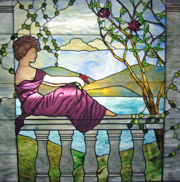 Cool too but not old.  A different Purple Lady stained glass maybe made with old art glass quality standards, I can't tell from this and haven't read about their methods.