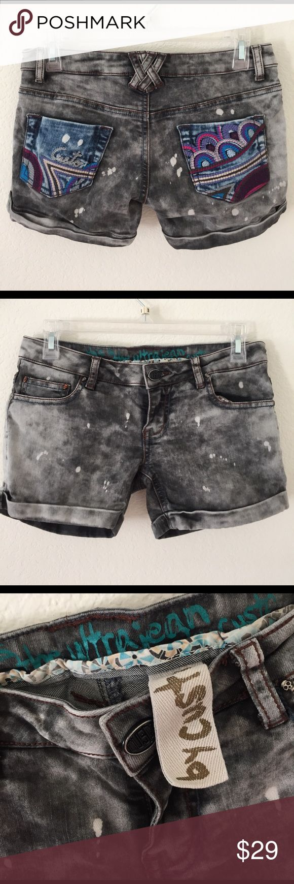 CUSTO BARCELONA Low Waist Distressed Jeans Shorts The Jeans Shorts have distressed used look, with Skulls studs (see photo) and embroidered detail on the back pockets. This short is a PR sample item and was worn at photo shoots for a few times. The condition is very good.➡️ I am selling the other items (Crochet sweater and High Heels) in a separate listing. Check it out! Custo Barcelona Shorts Jean Shorts