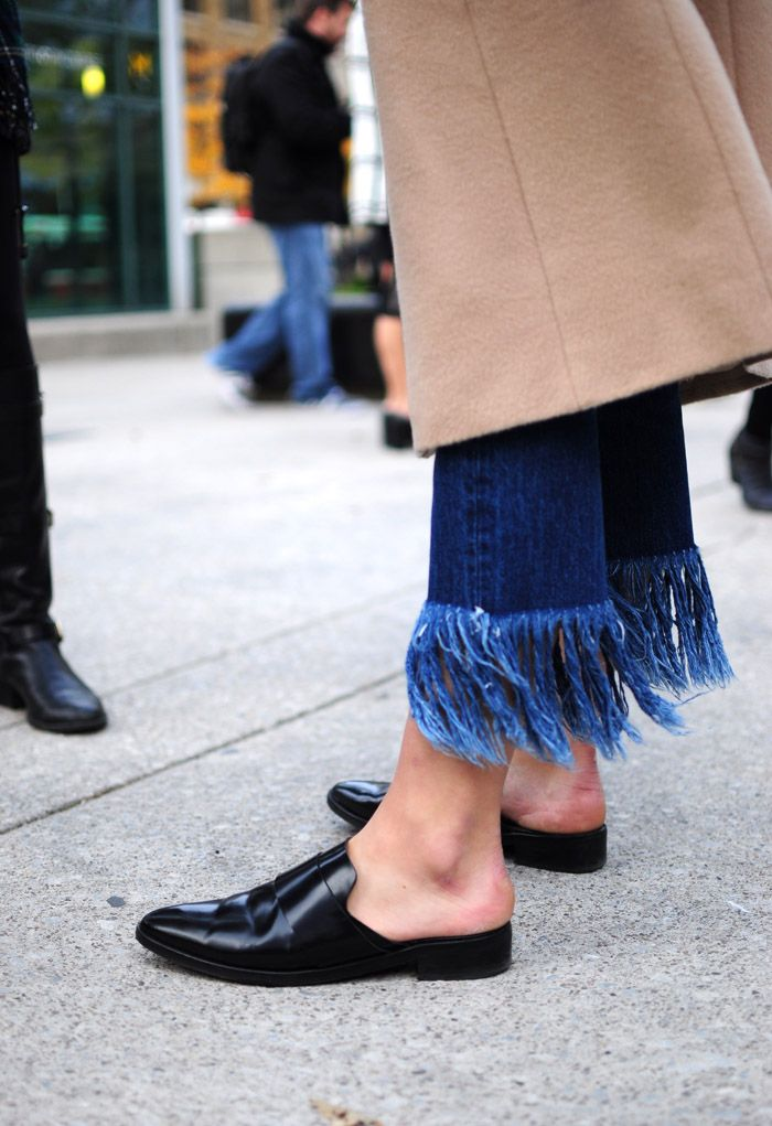 How to Style Your Statement Fringe Jeans www.lizavenue.com | Photo Via Toronto Fashion Week Street Style Shoes