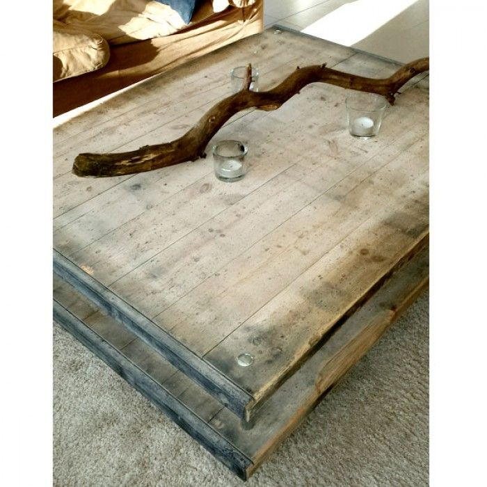 Prachtige grote salontafel van oude steenschotten. Super gaaf en stoer!
