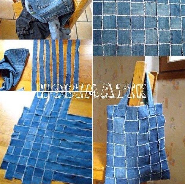 Eskimiş kot pantolondan çanta yapımı