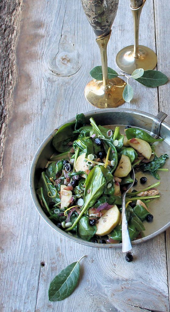 Warm Sautéed Spinach with oyster mushroom, blueberry & feijoa in a Balsamic Beurre Blanc   Inspired Edibles