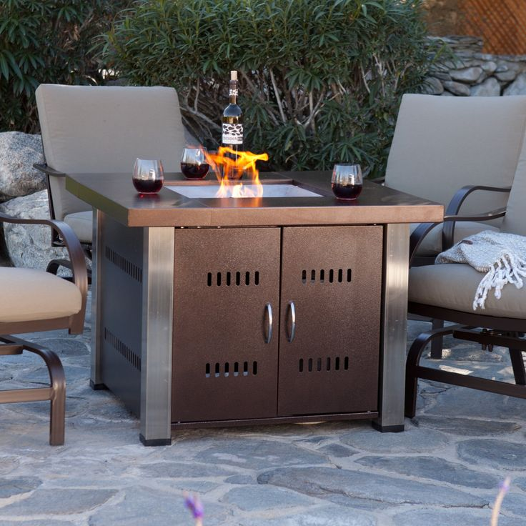 AZ Heater Propane Antique Bronze and Stainless Steel Fire Pit - GS-F-PCSS